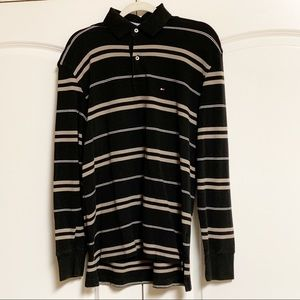 Tommy Hilfiger Gray Stripe Pique Collar LS Shirt M